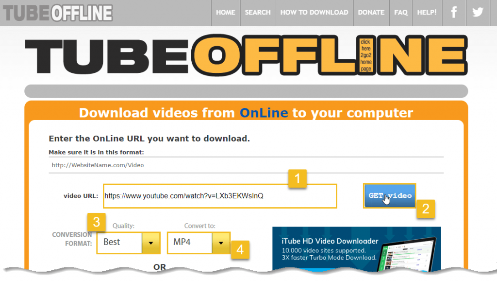 Download YouTube Video - TubeOffline - click on get video button