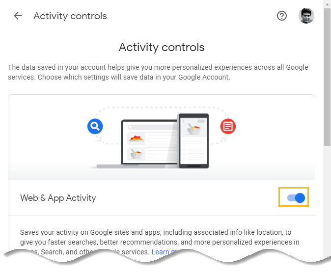 How to delete Google browsing history - Google My Activity homepage - Activity controls