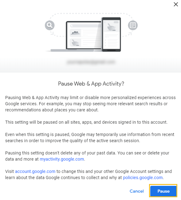 How to delete Google browsing history - Google My Activity homepage - Pause web and app activity