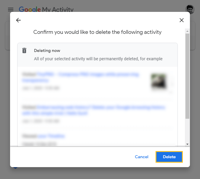 How to delete Google browsing history - Google My Activity homepage - delete all