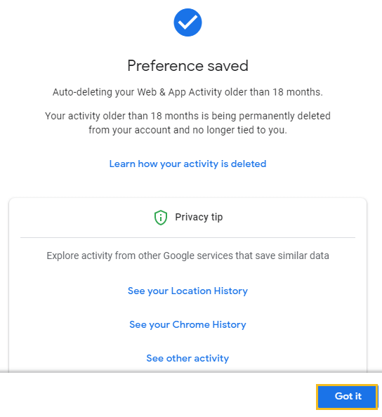 How to delete Google browsing history - Google My Activity homepage - google search auto-preference saved