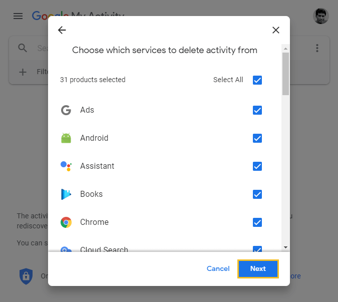 How to delete Google browsing history - Google My Activity homepage - select all