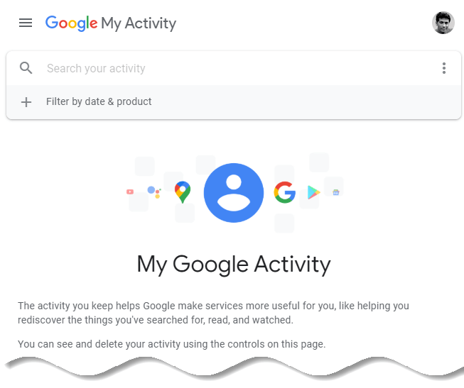 How to delete Google browsing history - Google My Activity homepage