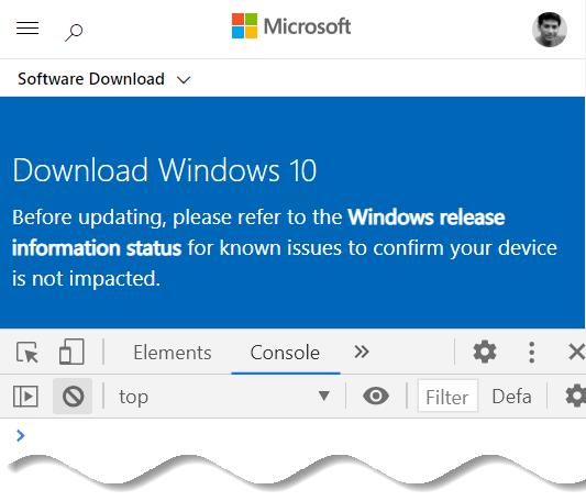Download Windows 10 offline ISO - Inspect panel in Google Chrome