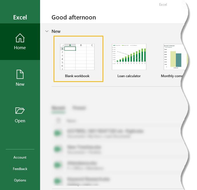 Excel for Beginners - Open Blank workbook in Excel