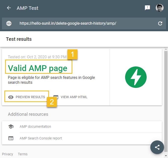 How to setup amp WordPress -  AMP test tool test result - valid