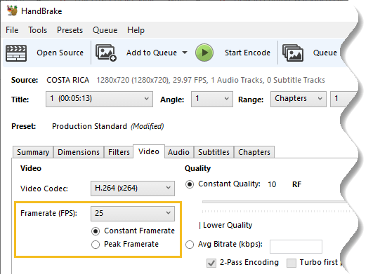 Choose 25fps depending on your original framerate and constant framerate radio button should be marked - How to Compress a Video File without Losing Quality-7