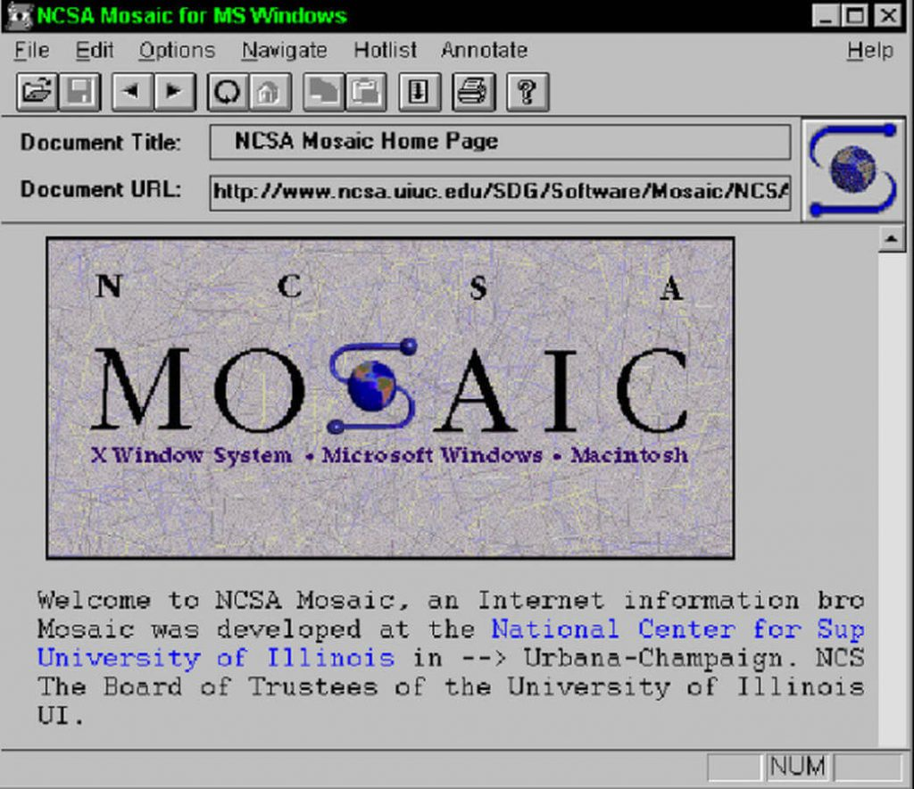 History of JavaScript - mosaic browser